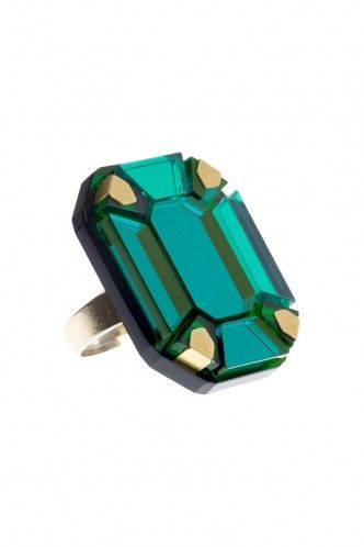 Gem Cut Ring - Green - Tatty Devine
