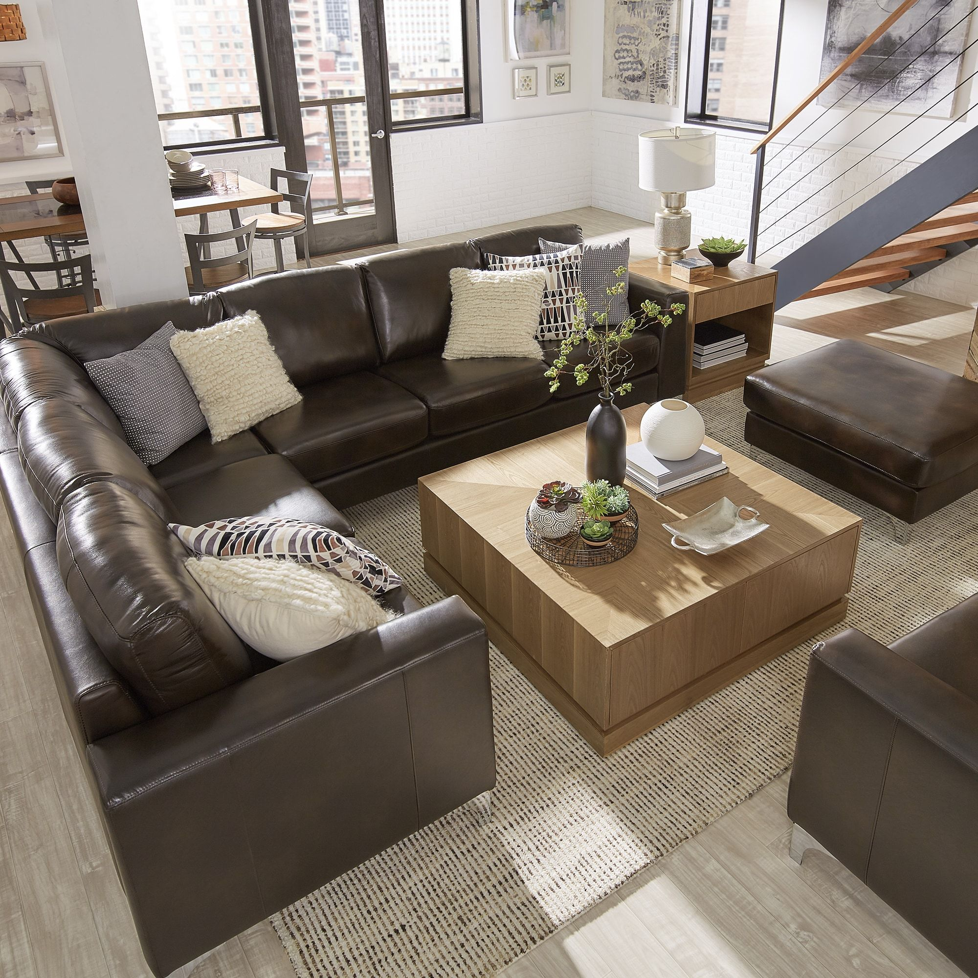 Bastian Aniline Leather Dark Brown L-Shaped Sectionals by iNSPIRE Q Modern  (6-