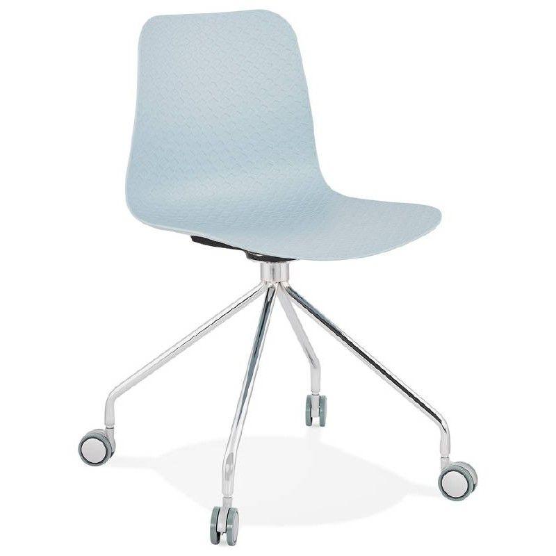 Chaise De Bureau Sur Roulettes Janice En Polypropylene Pieds Metal Chrome Bleu Ciel Chaise De Bureau Design Chaise Bureau Chaise Design