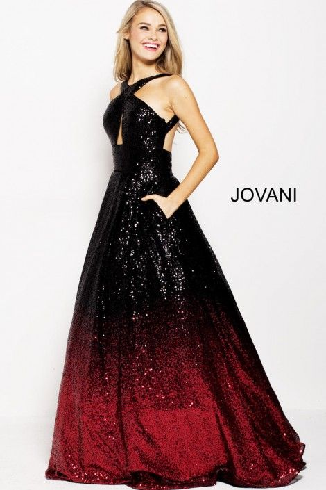 a46db67c561 Style 60270 from Jovani is an ombre sequin ball gown with a front keyhole