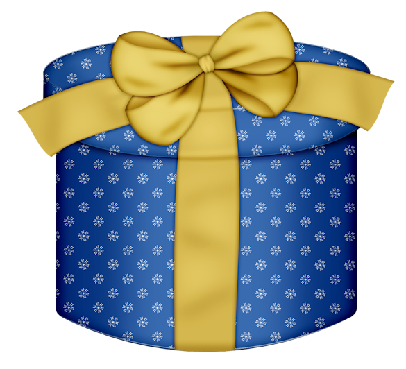 Blue Round Gift Box with Yellow Bow PNG Clipart | A Special Gift ...