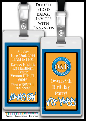 Custom Dave and Busters Inspried VIP Passes Badges for Birthday