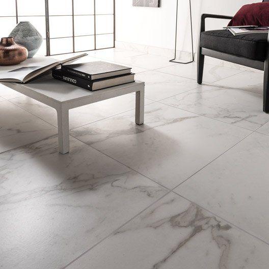 Carrelage sol et mur blanc carare effet marbre Murano l60 x L60 cm
