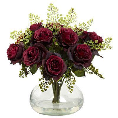 Rosalind Wheeler Rose and Maiden Hair Floral Arrangement with Vase Color: Burgundy