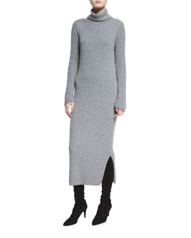 Gwen longsleeve ribbed turtleneck midi dress charcoal products