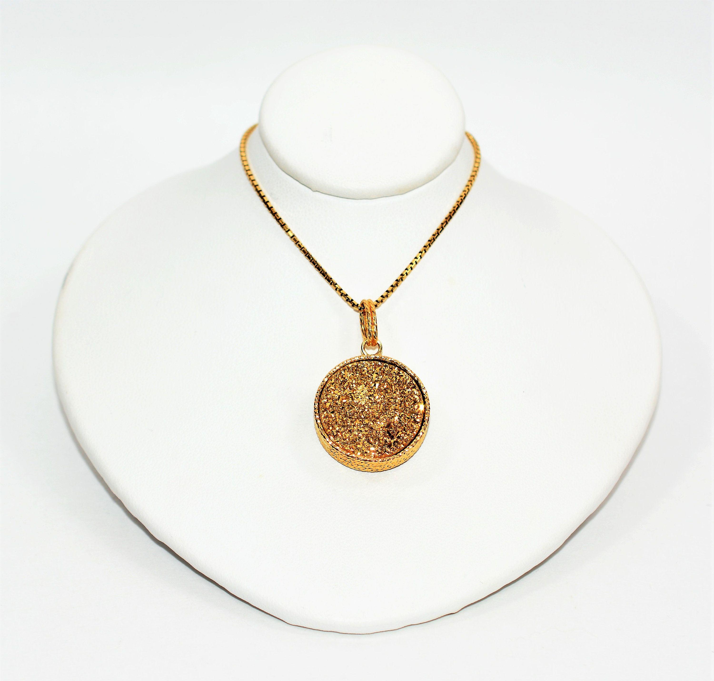 Milor Italy Druzy Blue Gold Reversible 14kt Yellow Gold Etsy Yellow Gold Pendants Gold Pendant Womens Necklaces