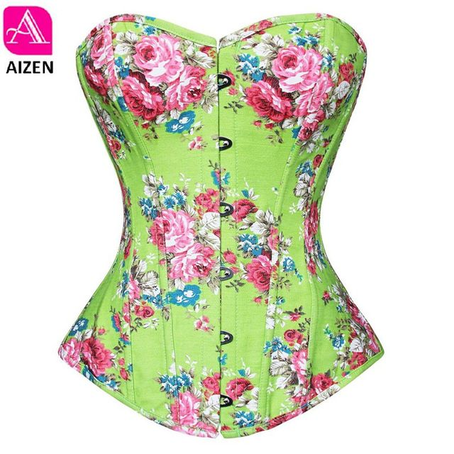 Vintage Corsets and Bustiers Flower Print Bustier Corset Push up Corselet