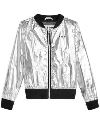 0dac3287f9352 Dkny Big Girls Metallic Bomber Jacket - Silver M (8/10) | Products ...