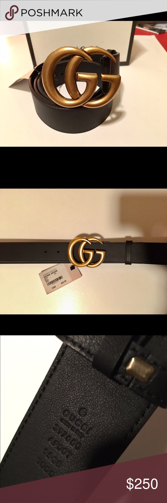 691f4296748 Black Gucci Marmont Belt with Gold Buckle Gucci smooth leather