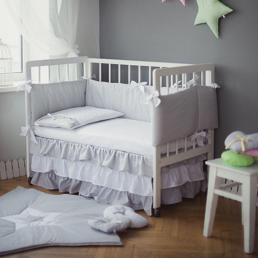 Crib bedding Grey White Baby bed sets   White moonlight handmade