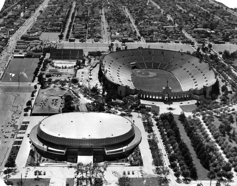 (1960)* Aerial view of both the LA Memorial Coliseum and