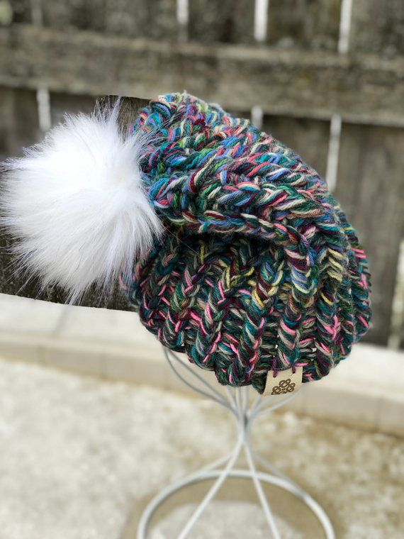 8b222db6e8d Hand Knitting · Neutral · Unique multi-color White pompom hat is super fun.  Not your typical neutral this