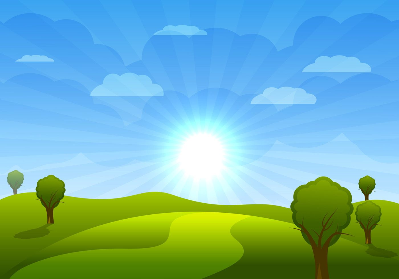Beautiful Cartoon Landscape With Trees And Clouds Vector Illustration Perspektiva