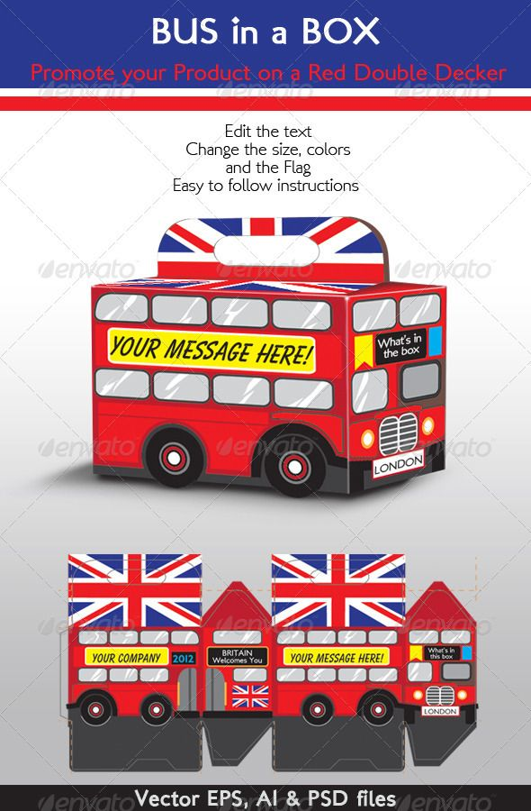 bus in a box red double decker london bus graphicriver. Black Bedroom Furniture Sets. Home Design Ideas