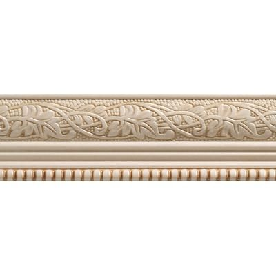 Ornamental Mouldings 1825 In X 96 In White Hardwood Embossed Ivy Bead Trim Chair Rail Moulding At The Home Depot Mobile