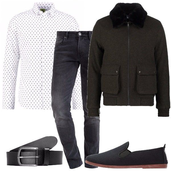 design unico molti alla moda economico per lo sconto Camicia microfantasia bianca e nera, jeans vita normale, slim fit ...