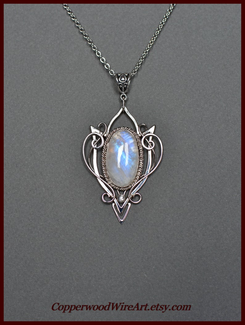 Silver Moonstone Pendant Wire Wrapped Moonstone Necklace Moonstone Pendant Silver Moonstone Necklace