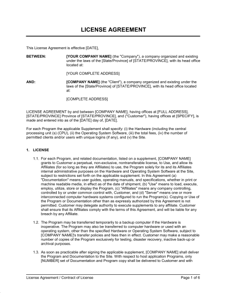 Music License Agreement   Template U0026 Sample Form | Biztree.com   Music Licensing  Contract