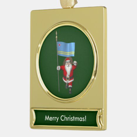 Santa Claus With Ensign Of Aruba Gold Plated Banner ...