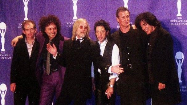 At the Rock and Roll Hall of Fame in 2002: Benmont Tench, left, Mike Campbell, Tom Petty, Howie Epstein, Stan Lynch and Ron Blair.