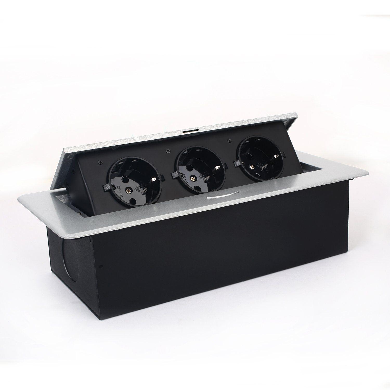 SIMBR Versenkbare Bodensteckdose Tischsteckdose 3 Fach Steckdose Für Boden  Tisch Küchenarbeitsfläche Arbeitsplatte: Amazon.de