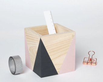 Wooden storage pot (various colours) -  Home office -  Desk tidy - Desk organiser - Home Decor - Planter - Plant pot - Hand painted pen pot