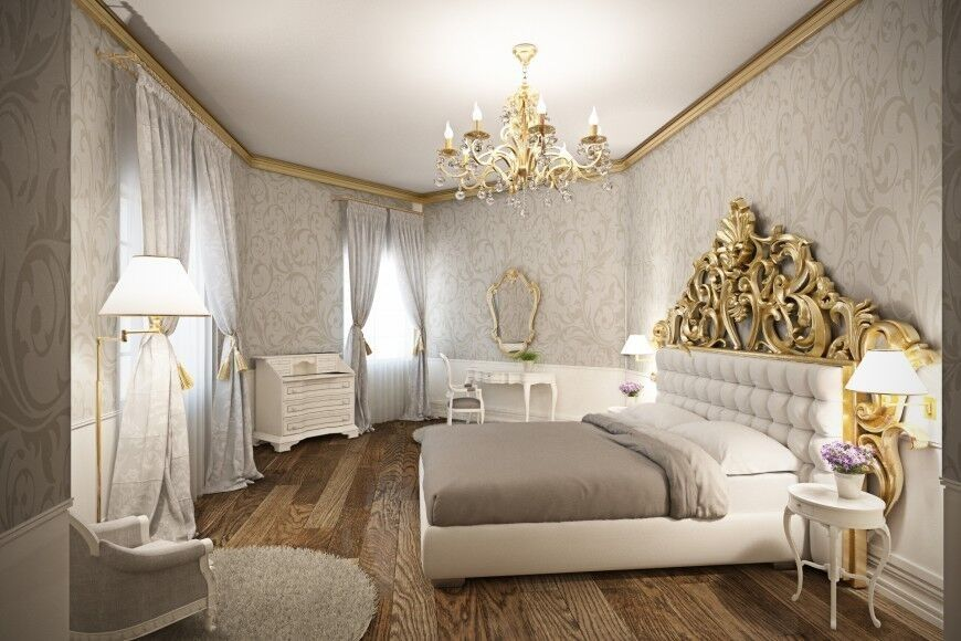 This Glamorous Bedroom Accents The White Furniture With Shades Of Warm Grey And Bright Gold Stunning Wood Floor Is Perfect Break In Pale Decor