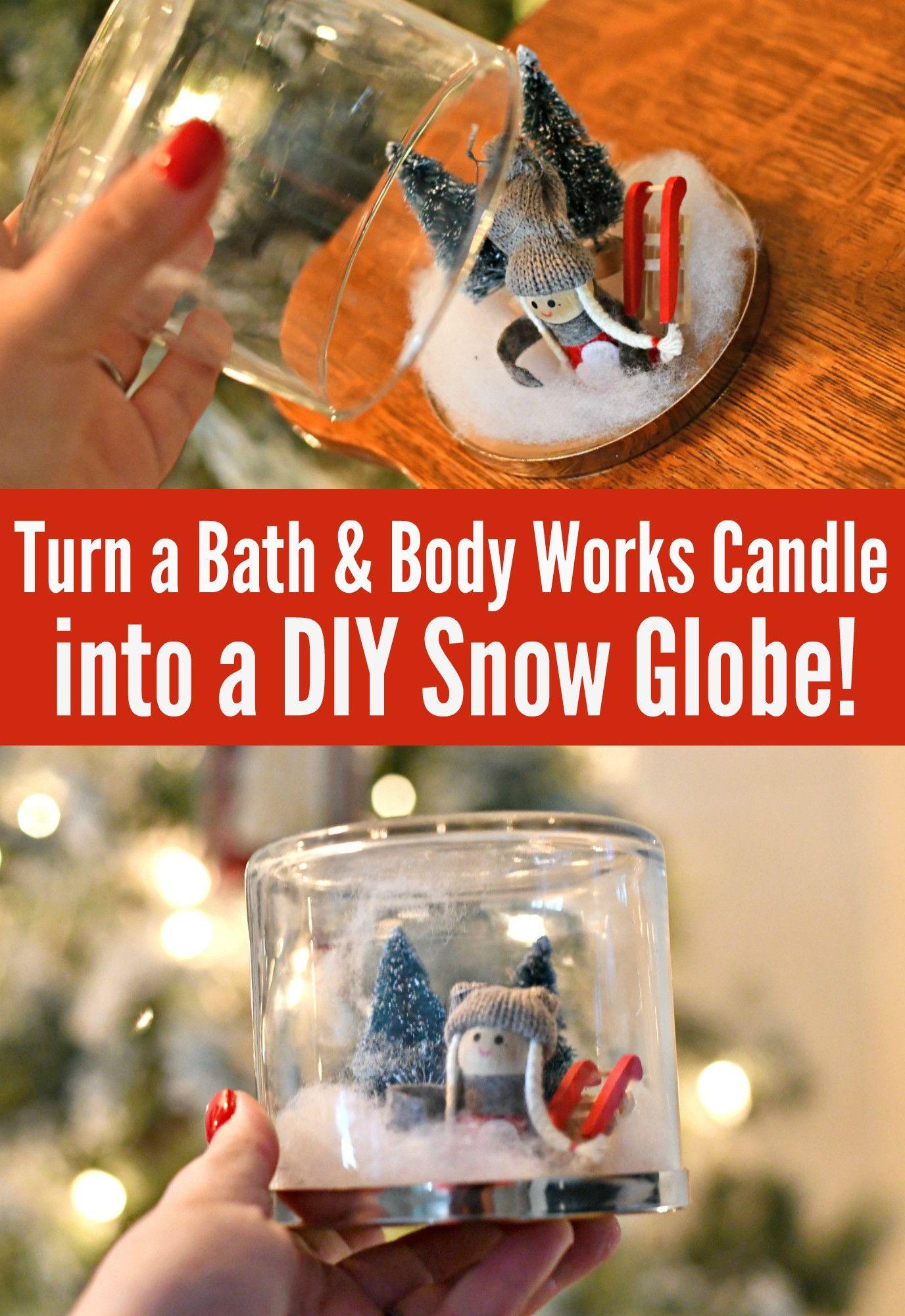 turn a pretty candle jar into a diy snow globe for
