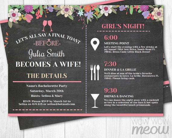 Free printable bachelorette invitation orderecigsjuiceinfo for Bridal shower itinerary template