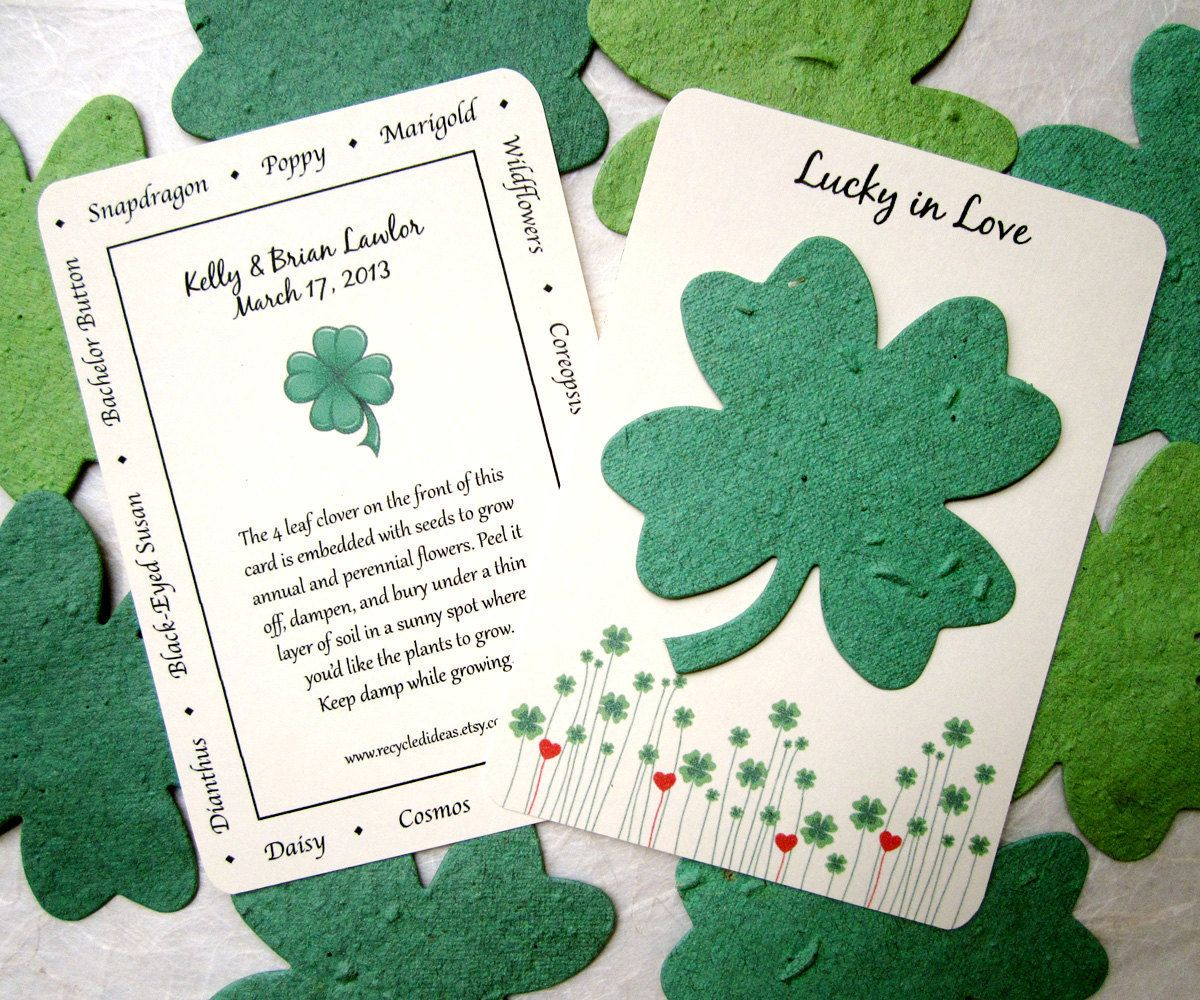 Plantable wedding favors - 100 Lucky Clover Wedding Favors Plantable Flower Seed Paper 186 00 Via Etsy