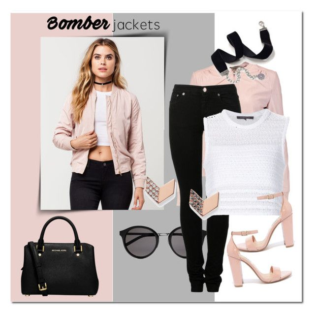 """""""Bomber Jackets"""" by clairebearcool ❤ liked on Polyvore featuring Sans Souci, MICHAEL Michael Kors, Yves Saint Laurent, Halston Heritage, MM6 Maison Margiela, Thakoon, Steve Madden, FOSSIL, Sweet Romance and bomberjackets"""