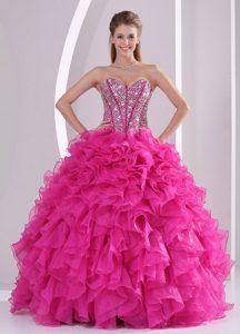 Fuchsia Ruffles Sweetheart Dress for Quinceanera with Ruffles and ...