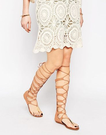 d52dbe761b696 Marianne nude ghillie knee high gladiator flat sandals by ALDO. Sandals by  ALDO Faux suede upper Toe-post Gold rivets Lace-up fastening with tassel  detail ...