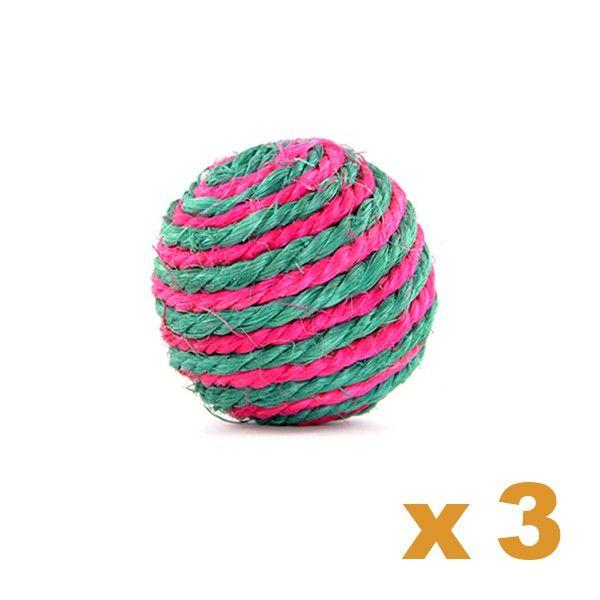 lot de jouet pour chat pas cher 3 balles en sisal multicolore lot de jouets pour chat pas cher. Black Bedroom Furniture Sets. Home Design Ideas