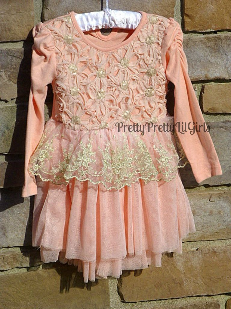 Pink and gold dress for kids  Girls Dress Flower Girl Dress Boutique Girls DressPink and Gold