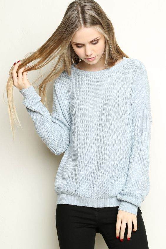 9d90041139 20 Light Sweater Styles to Pop up Your Looks - Pretty Designs.   roressclothes closet ideas  women fashion outfit  clothing style apparel  Pale Blue Sweater