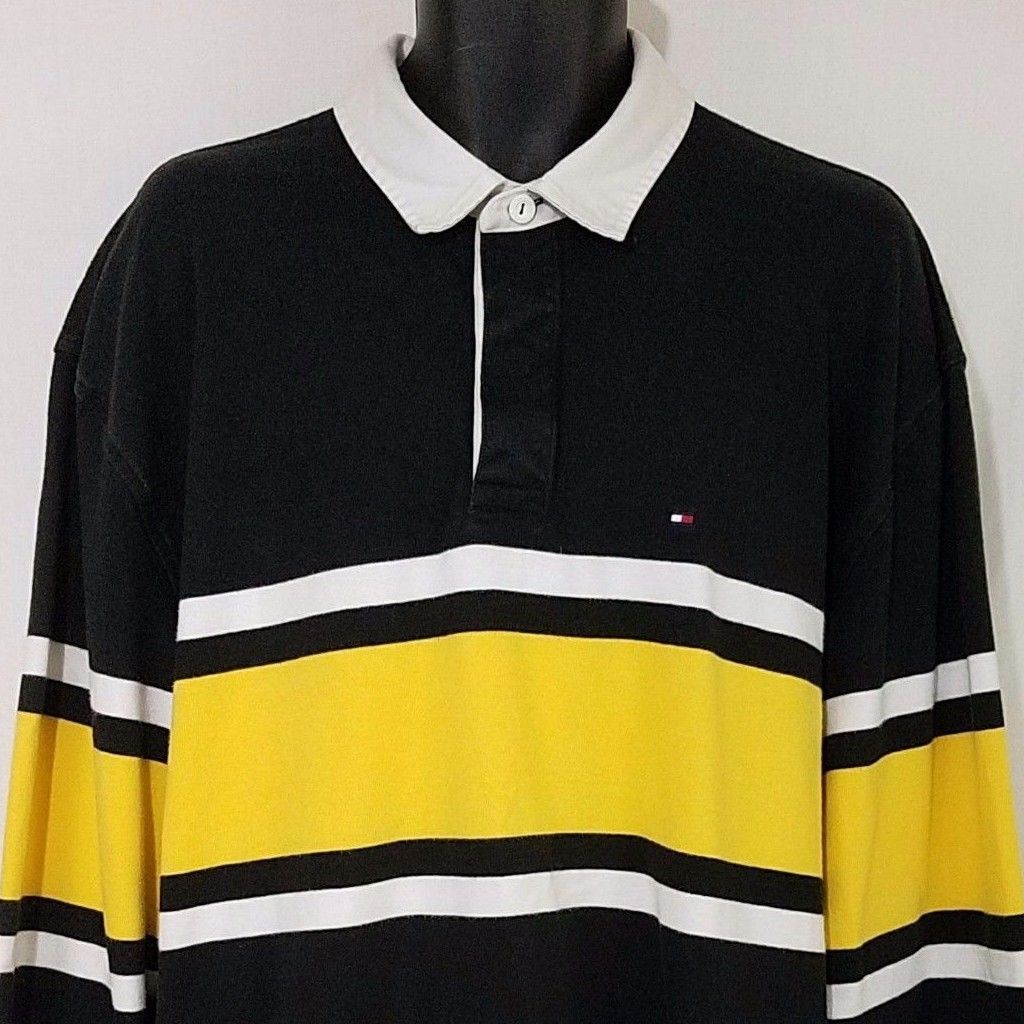 Tommy Hilfiger Rugby Polo Shirt Long Sleeve Black White Yellow Stripe Mens 2xl