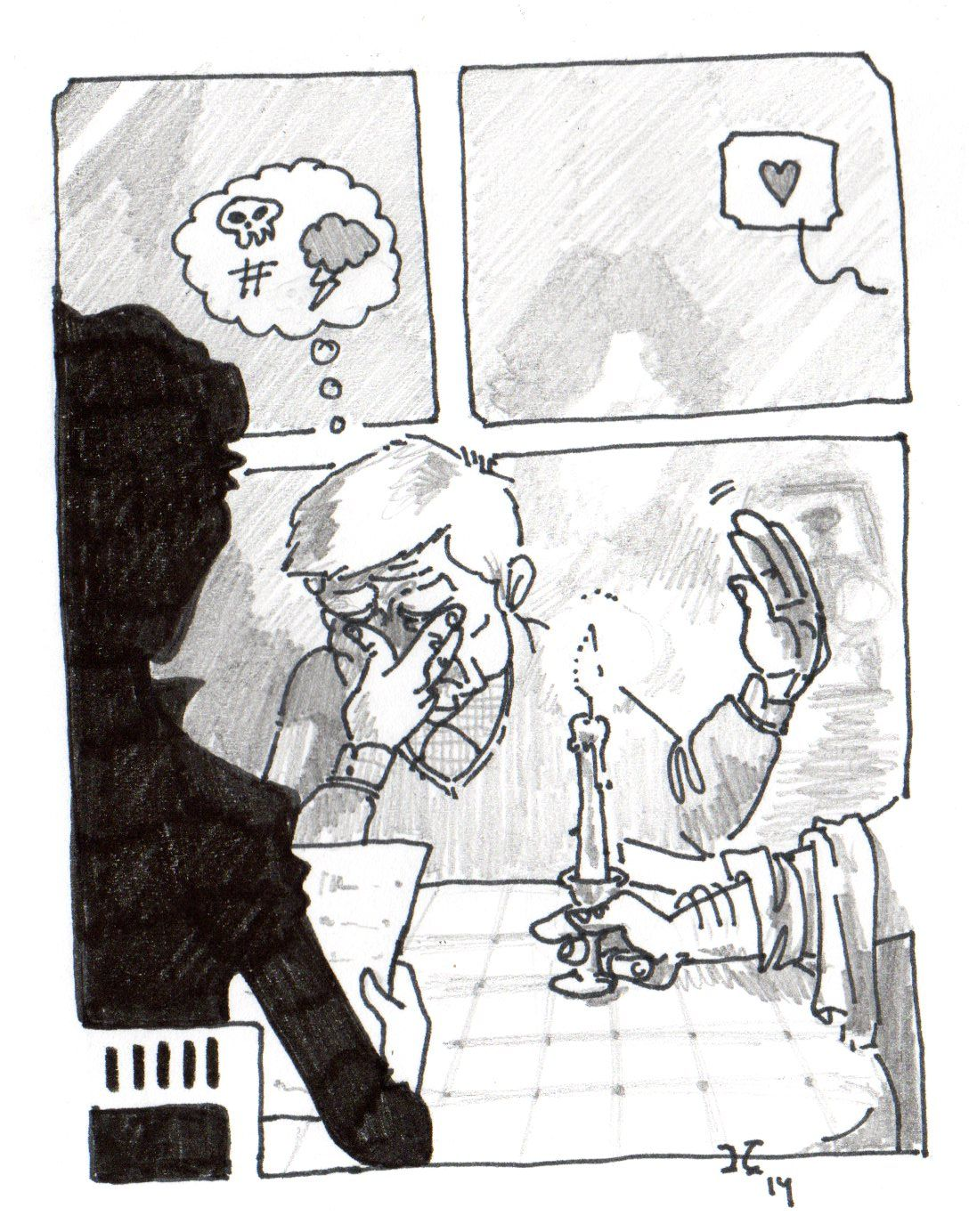 Sherlock -A Study in Pink- Holmes (Benedict Cumberbatch) & Watson (Martin Freeman). He's not his date! January, 2014