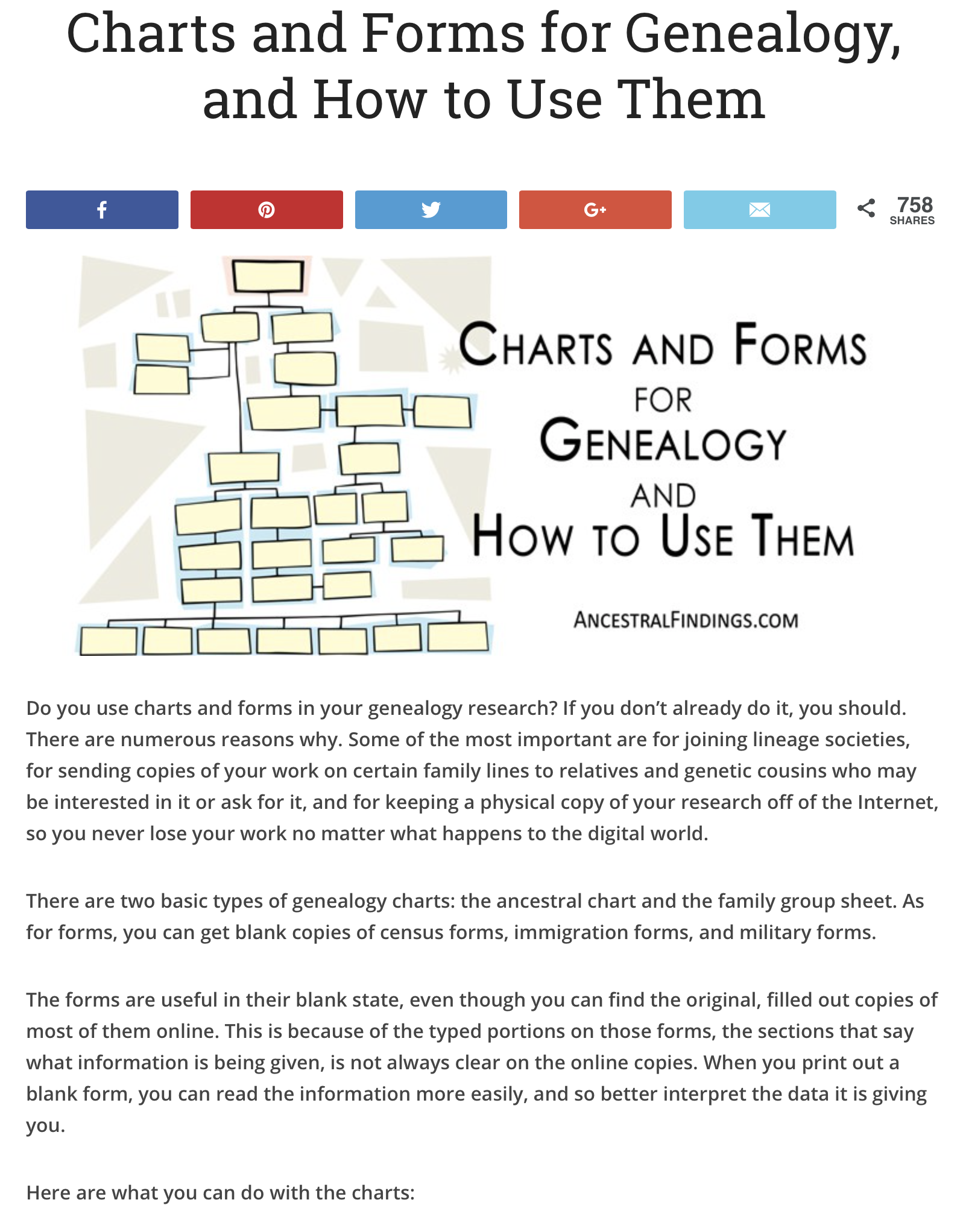 Charts And Forms For Genealogy And How To Use Them
