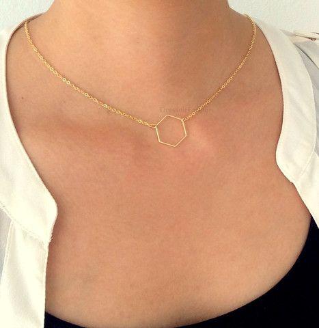 goud zilver modern subtiel ketting kort hexagoon zeshoek cadeau chiq groot - Dressoir Fashion