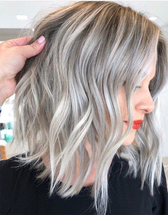 Edgy Silver Hair Color Ideas For Medium Length Hair Silver Hair Color Medium Length Hair Styles Grey Blonde Hair
