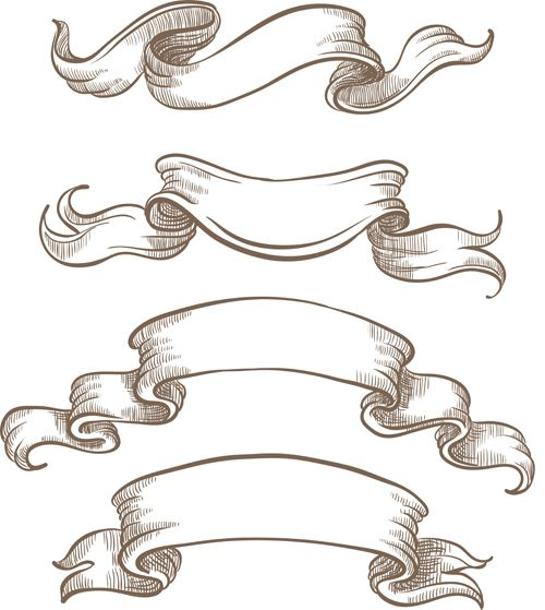Hand drawn vintage ribbon benner vector 06 | Graphic ...