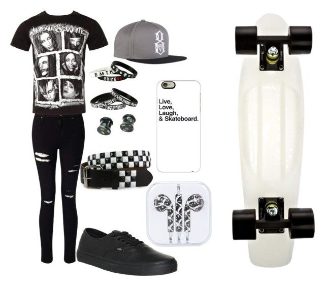 """Im with the sk8er boi"" by bandgirling13 ❤ liked on Polyvore featuring Miss Selfridge, Vans, REBEL8 and Casetify"
