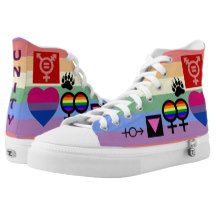 Here's a cool way to tell the world you're one of the family, or a supporter, who believes in LGBT solidarity. Both sides of these sneakers sport LGBT symbols, including symbols representing gay men, bears, lesbians, bisexuals, transgendered, gender queer, pansexual, intersex, and marriage equality and gay rights/pride. The symbols differ from the left side of the sneaker to the right side. http://www.zazzle.com/lgbt_unity_collage_2_sided_faded_rainbow_hi_top_printed_shoes-256891957403904000