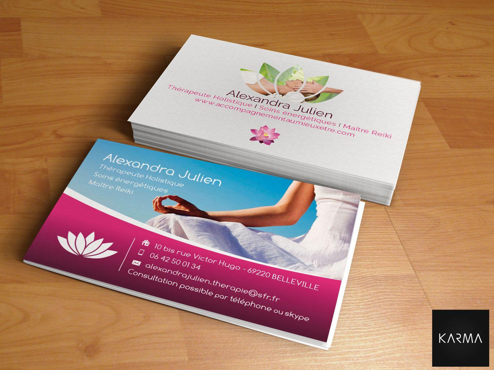 Business Card Design For Alexandra Julien Creation Carte De Visite Pour Therapeute Holistique I Soins Energetiques Maitre Reiki Retrouvez