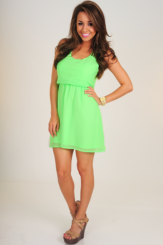 Jump To Conclusions Dress: Neon Green from Hope's Womens Boutique