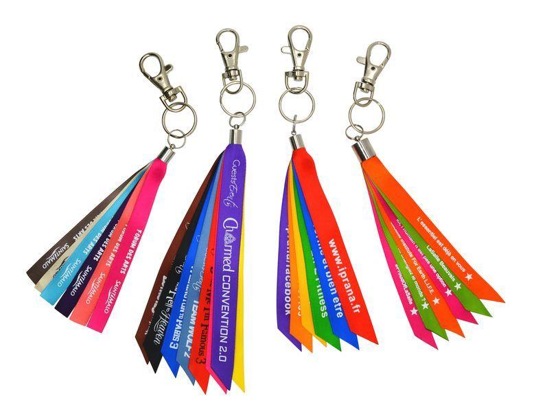 Porte-clés avec rubans satin (6 ou 8) plusieurs largeurs disponibles.  Impression 1 ou 2 couleurs par ruban d9141bfbfd4