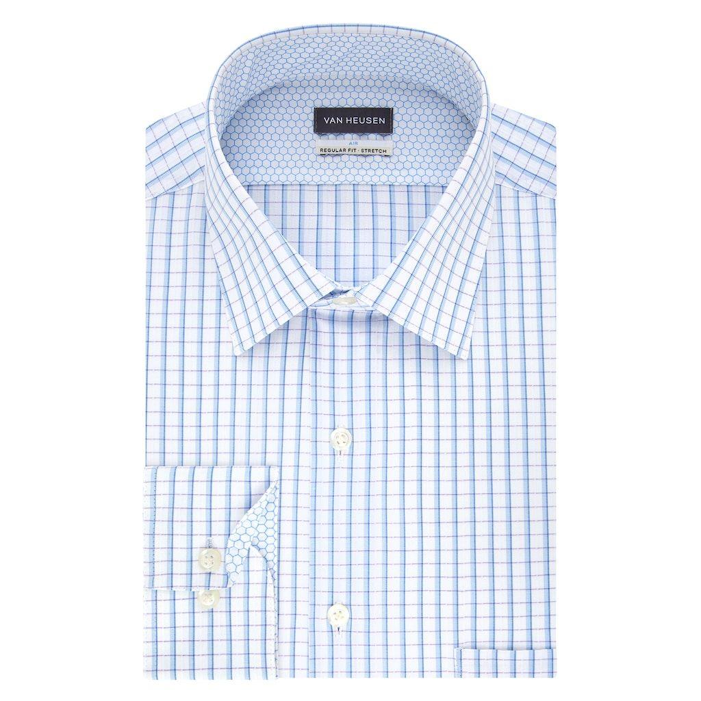 Men S Van Heusen Air Regular Fit Stretch Dress Shirt Stretch Fabric Traditional Sleeve Cool Technology