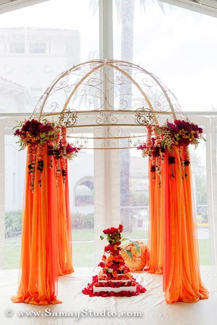 mandap on a bigger scale and flowers on top fallin gdown