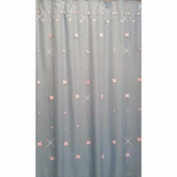Single Swag With Long Alt StrandsPink ButterflyShower Curtain Bling